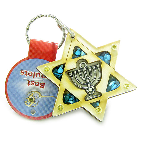 Holy Land Genuine Gemstones Amulet King of Solomon Star Minora Blessing Wooden Keychain Lucky Charm