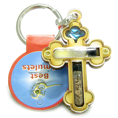 Holy Land Genuine Amulet Saint Cross Jordan River Water Soil Blessing Wooden Keychain Lucky Charm