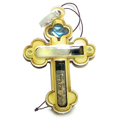 Holy Land Genuine Amulet Saint Cross Jordan River Water Soil Blessing Wooden Lucky Car Charm
