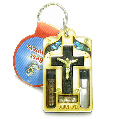 Holy Land Genuine Amulet Jesus Cross Jordan River Water Soil Blessing Wooden Keychain Lucky Charm