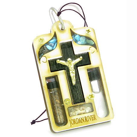 Holy Land Genuine Amulet Jesus Cross Jordan River Water Soil Blessing Wooden Lucky Car Charm