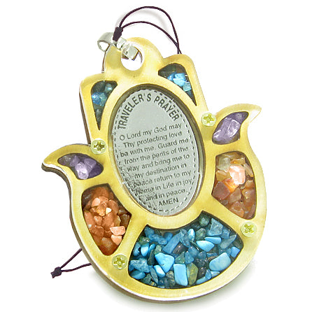 Holy Land Genuine Gemstones Amulet Travelers Prayer Protection Powers Hamsa Wooden Lucky Car Charm