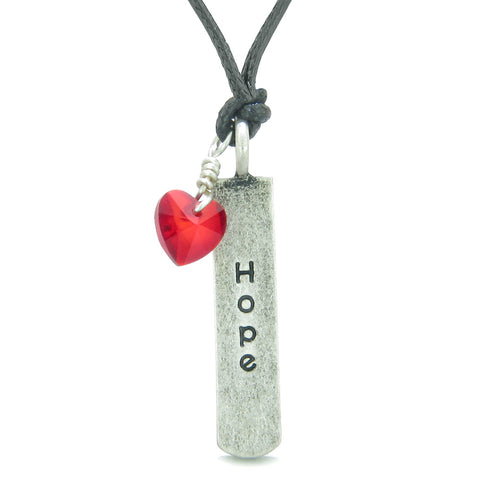 Handcrafted Inspirational Hope Tag Cute Royal Red Faceted Heart Lucky Charm Crystal Adjustable Necklace