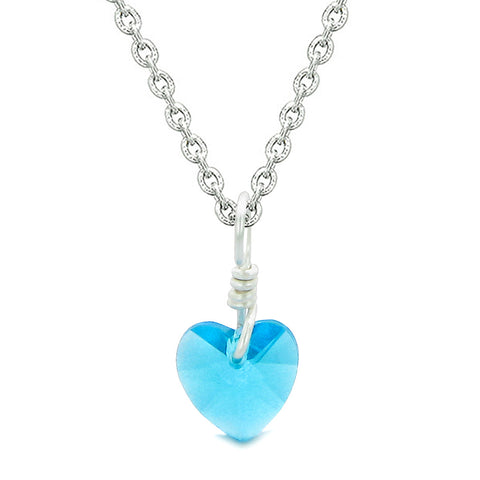 Handcrafted Inspirational Hope Tag Cute Sky Blue Faceted Heart Lucky Charm Crystal 18 Inch Necklace