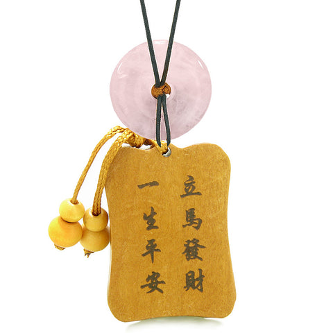 Fortune Horse Money Bag Lucky Coin Car Charm Home Decor Rose Quartz Donut Protection Powers Amulet