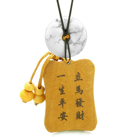 Fortune Horse Money Bag Lucky Coin Car Charm Home Decor White Howlite Donut Protection Amulet
