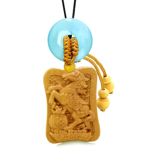 Fortune Horse Money Bag Lucky Coin Car Charm Home Decor Blue Simulated Cat Eye Donut Amulet
