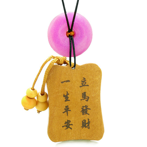 Fortune Horse Money Bag Lucky Coin Car Charm Home Decor Pink Quartz Donut Protection Powers Amulet