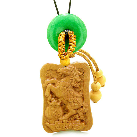 Fortune Horse Money Bag Lucky Coin Car Charm Home Decor Green Quartz Donut Protection Powers Amulet