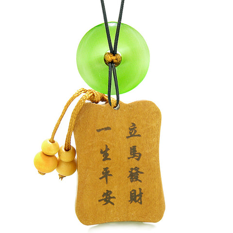 Fortune Horse Money Bag Lucky Coin Car Charm Home Decor Green Simulated Cats Eye Donut Amulet
