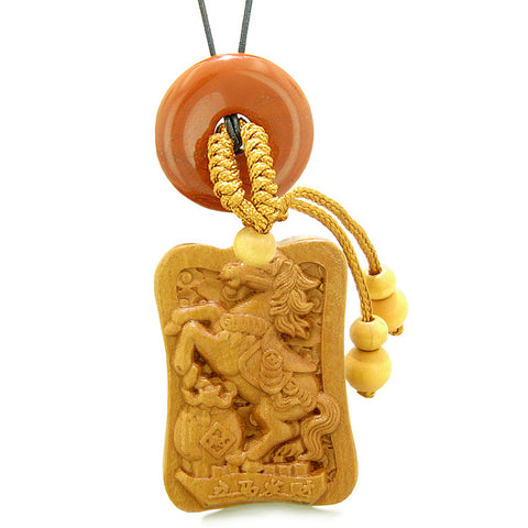 Fortune Horse Money Bag Lucky Coin Car Charm Home Decor Red Jasper Donut Protection Powers Amulet
