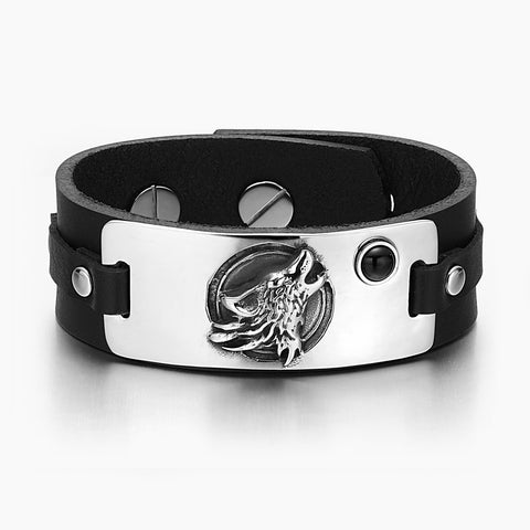 Howling Wolf Wild Moon Courage Amulet Tag Simulated Black Onyx Adjustable Black Leather Bracelet