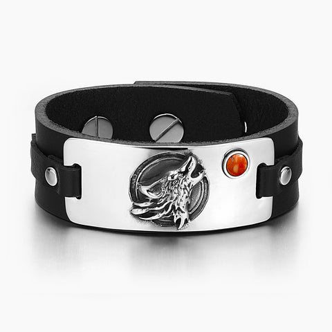 Howling Wolf Wild Moon Courage Amulet Tag Red Jasper Gemstone Adjustable Black Leather Bracelet