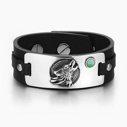 Howling Wolf Wild Moon Courage Amulet Tag Green Quartz Gemstone Adjustable Black Leather Bracelet
