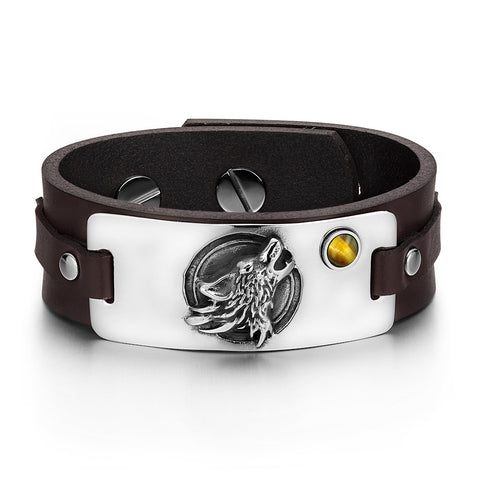 Howling Wolf Wild Moon Courage Amulet Tag Tiger Eye Gemstone Adjustable Dark Brown Leather Bracelet