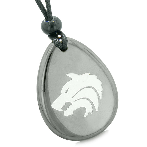 Amulet Brave Howling Wolf Head Spiritual Protection Powers Hematite Wish Stone Totem Pendant Necklace