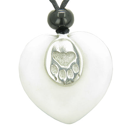 Lucky Wolf Paw Charm Puffy Heart Amulet White Jade Gemstone Crystal Pendant Necklace