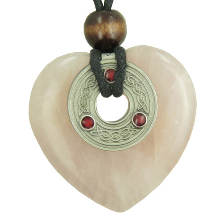 Celtic Triquetra Knot Protection Amulet Rose Quartz Heart Necklace