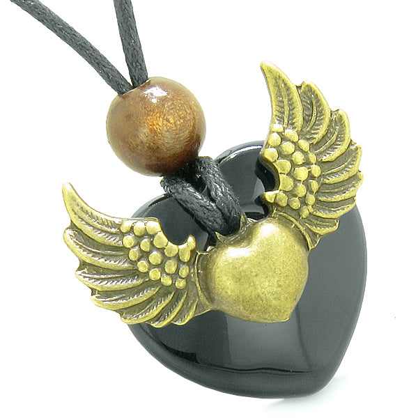 Angel Wings Love Couple Best Friends Heart Yin Yang Amulet Agate Green Simulated Cats Eye Necklaces