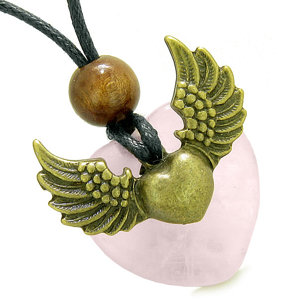 Angel Wings Double Lucky Heart Donut Amulet Magic Powers Rose Quartz Pendant Necklace