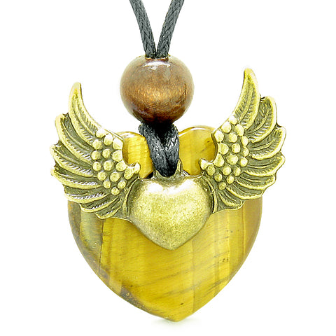 Angel Wings Double Lucky Heart Donut Amulet Magic Powers Tiger Eye Pendant Necklace