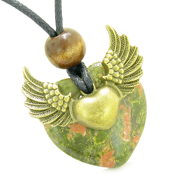 Angel Wings Double Lucky Heart Donut Amulet Magic Powers Unakite Pendant Necklace