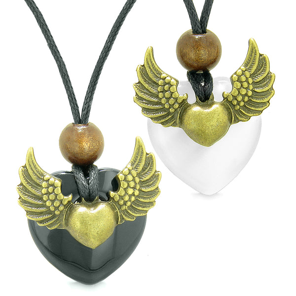 Angel Wings Love Couple Best Friends Heart Yin Yang Amulet Agate White Simulated Cats Eye Necklaces