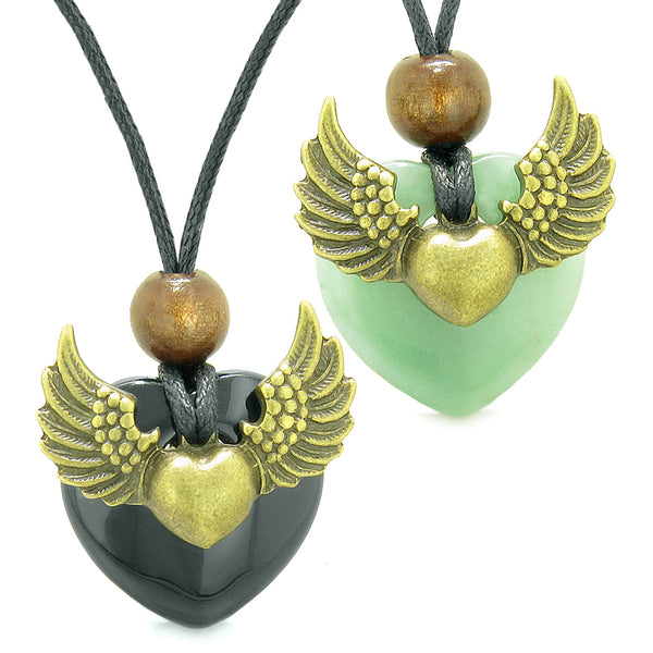 Angel Wings Love Couple Best Friends Heart Yin Yang Amulets Black Agate and Green Quartz Necklaces