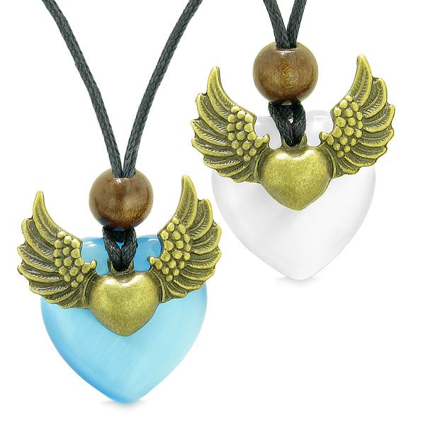 Angel Wings Love Couple Best Friends Heart Yin Yang Amulets Blue White Simulated Cats Eye Necklaces