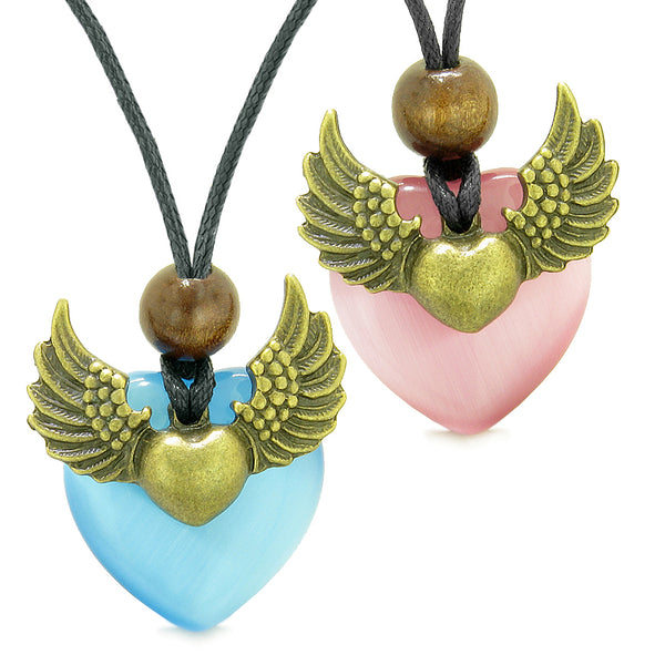 Angel Wings Love Couple Best Friends Heart Yin Yang Amulets Blue Pink Simulated Cats Eye Necklaces