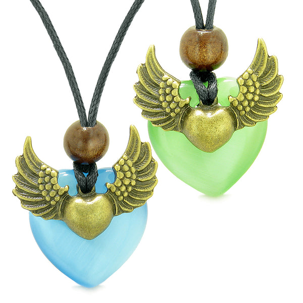Angel Wings Love Couple Best Friends Heart Yin Yang Amulets Blue Green Simulated Cats Eye Necklaces