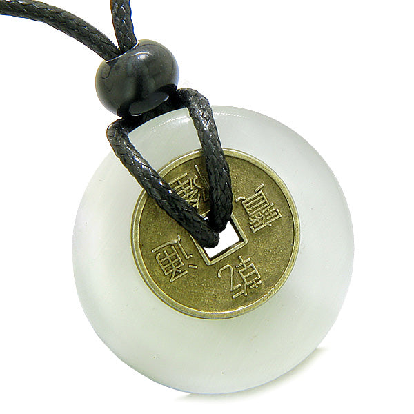 Antique Lucky Coin Magic Powers Amulet White Cat's Eye Crystal 30mm Donut Pendant Necklace
