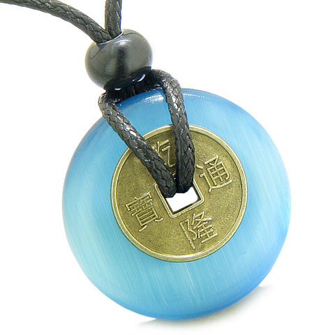 Antique Lucky Coin Magic Powers Amulet Sky Blue Cat's Eye Crystal 30mm Donut Pendant Necklace