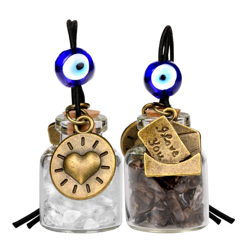I Love You Envelope Heart Sun Small Car Charms or Home Decor Gem Bottles Smoky Rock Quartz Amulets