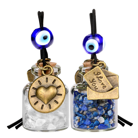 I Love You Envelope Heart Sun Small Car Charms or Home Decor Bottles Lapis Crystal Quartz Amulets
