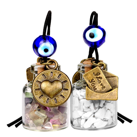 I Love You Envelope Heart Sun Small Car Charms Home Decor Bottles Fluorite White Howlite Amulets