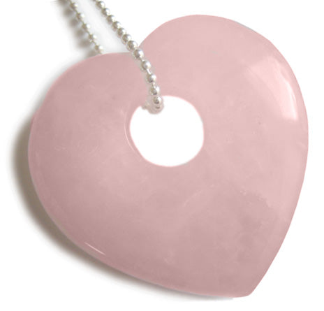 "Lucky Puffy Crystal Heart In Rose Quartz With 18"" Silver Chain Necklace"