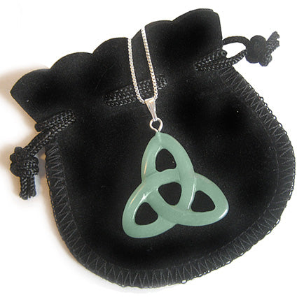"Money Talisman Celtic Triquetra Knot With 18"" Silver Chain"