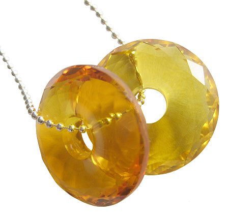 Crystal Faceted Citrine Donuts With Silver Chain