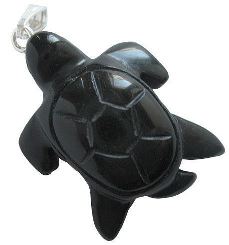 Spiritual Protection Talisman Turtle Pendant In Black Onyx