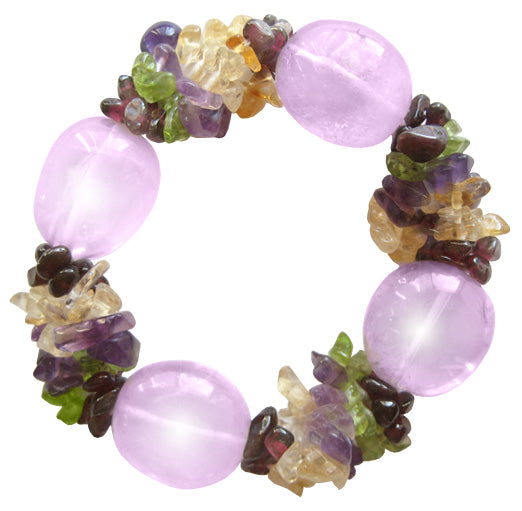 Good Luck Bracelet With Multi Gemstones And Amethyst