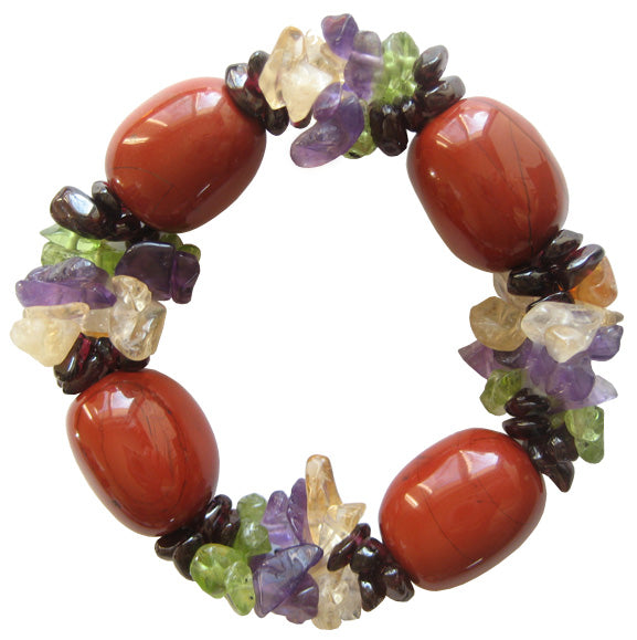 Will Power Bracelet With Fancy Red Jasper And Multi Gemstones