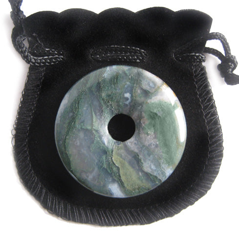 Agate Green Moss Good Luck Talisman Lucky Donut - 40Mm