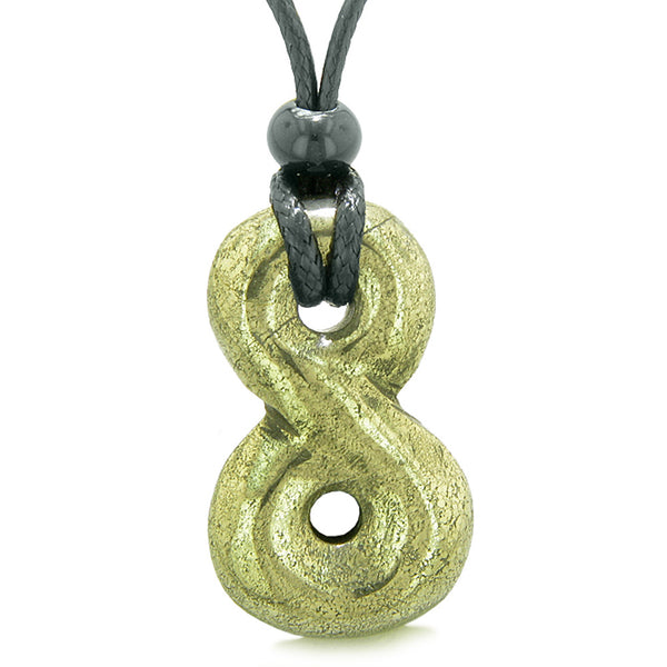 Infinity Magic Powers Knot Lucky Charm Evil Eye Protection Amulet Pyrite Iron Gemstone Pendant Necklace