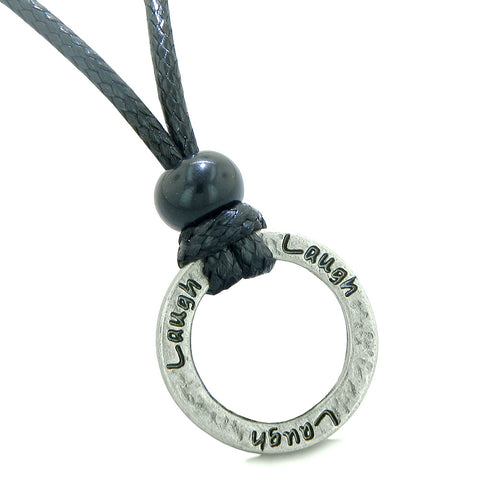 Inspirational Laugh Powers Hammered Brass Ring Eternity Circle Handcrafted Amulet Adjustable Necklace