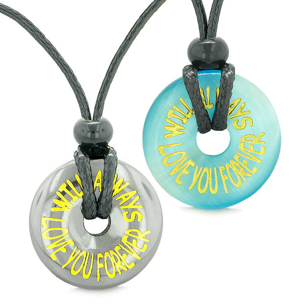 Amulets Will Always Love You Forever Couples Coin Donuts Hematite Blue Simulated Cats Eye Necklaces