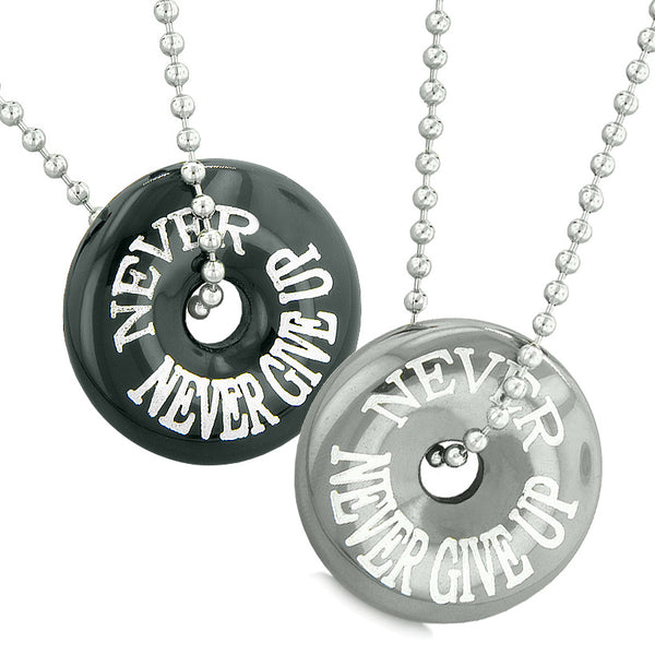 Amulets Never Never Give Up Love Couples or Best Friends Donuts Black Agate and Hematite Necklaces