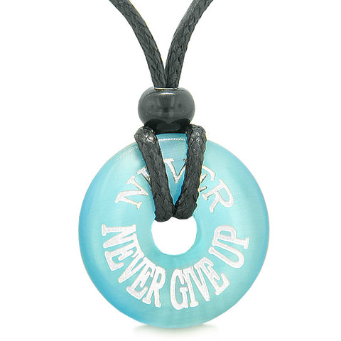 Inspiration Never Never Give Up Amulet Lucky Charm Donut Sky Blue Simulated Cats Eye Necklace