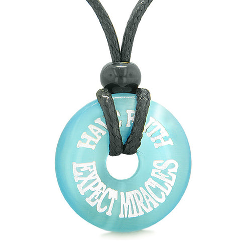 Inspiration Have Faith Expect Miracles Amulet Lucky Charm Donut Blue Simulated Cats Eye Necklace