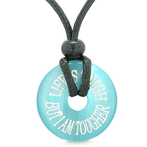 Inspiration Life is Tough But I am Tougher Amulet Charm Donut Blue Simulated Cats Eye Necklace